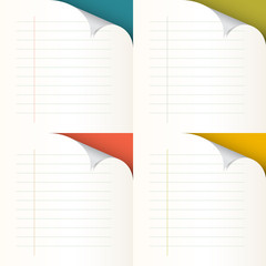 Lined Papers Set with Bent Corners - Vector Illustration