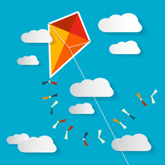 Vector Paper Kite on Blue Sky with Clouds Illustration