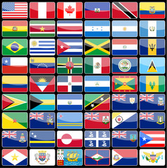 Elements of design icons flags of the continent of America