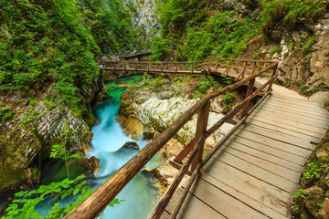 Wooden bridge and green river,Vintgar gorge,Slovenia,Europe