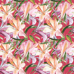 Lily seamless pattern