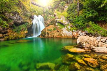 Sum waterfall in the Vintgar gorge,Slovenia,Europe