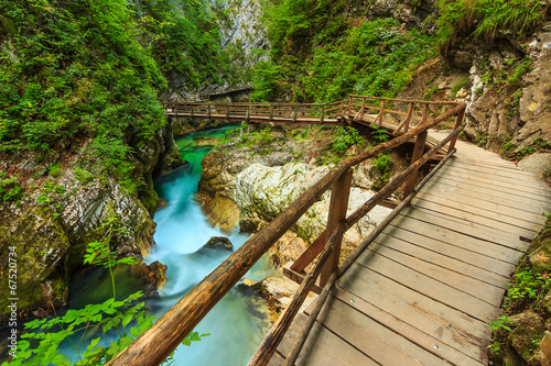 Wooden bridge and green river,Vintgar gorge,Slovenia,Europe - 67520734
