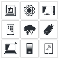 Exchange of information technology icon collection