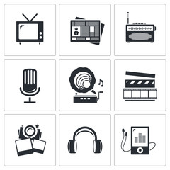 Media icons set - video, news, music, TV, recording, photo