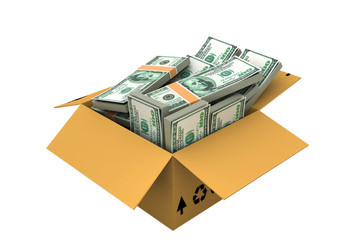 Open box with money