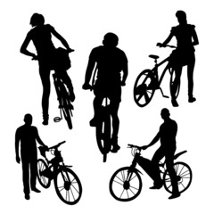 Bicyclists Silhouettes Set