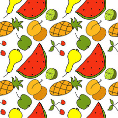 Fruit Color Hand Drawn Seamless