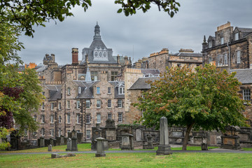 Old cemetery in  Edinburgh, Scotland.