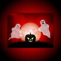 Halloween ghost panel background