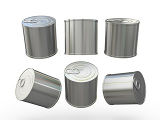 Aluminum blank food  tin can  with pull tab, clipping path inclu