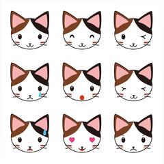ネコ 三毛猫 表情 セット