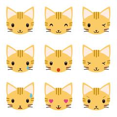 ネコ トラ猫 表情 セット