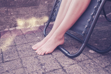 Woman's legs outside in the summer