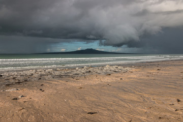 stormy clouds above Takapuna beach, New Zealand