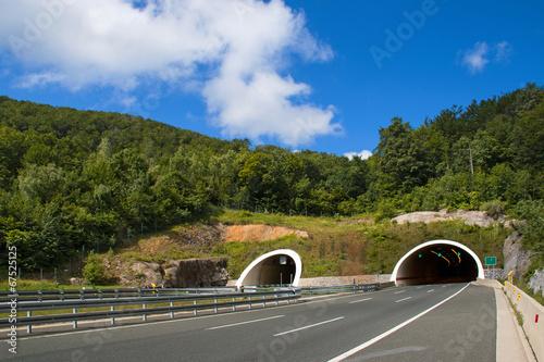 Two tubes tunnel on highway between Zagreb and Rijeka in croatia - 67525125