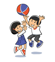 Asian kids play. Vector illustration