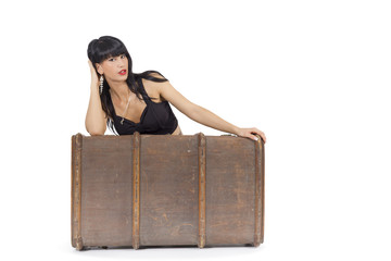 Koffer und Frau