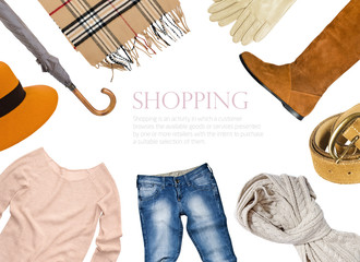 collage of clothing in warm color scheme