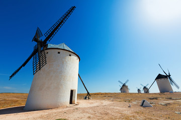 Wide angle shot of windmills in  La Mancha