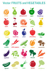 vector collection: fruits and vegetable icons