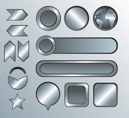 Silver high-detailed modern buttons
