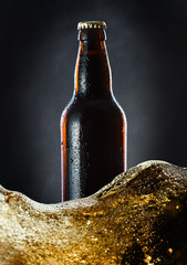 frozen  beer bottle