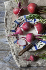 raw fresh red turnips on rustic background