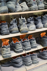 Safety shoes at a plant