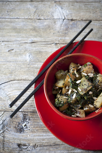 roasted japanese turnips with leaves and seeds