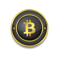 Bit coin Black GoldenVector Button Icon