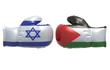 Boxing gloves with Israel and Palestine flag