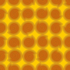 Yellow abstract background with orange snails