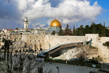 Temple Mount, West Wall and Dome of the Rock mosque in Jerusalem