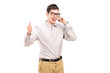 Happy man talking on phone and giving thumb up