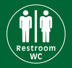 sign restroom women man, green