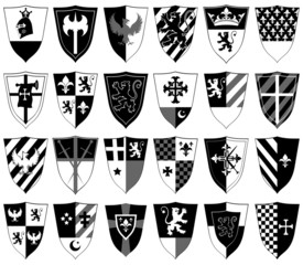 set of ornamental heraldic shields