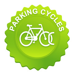 parking cycles sur bouton web denté vert