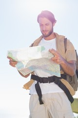 Handsome hiker reading map on mountain trail