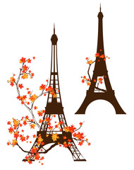 eiffel tower autumn design