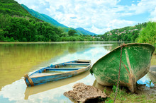 Two boats in river on the picturesque landscape