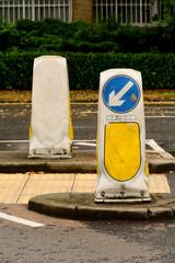 Traffic bollards at junction