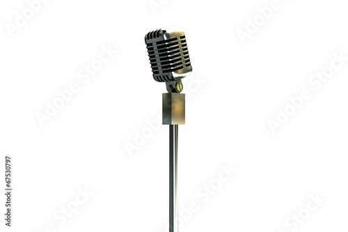 Digitally generated retro microphone on stand