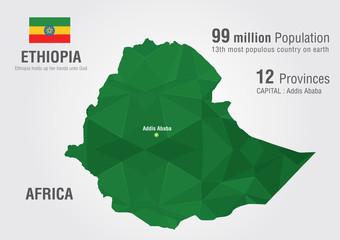 Ethiopia world map with a pixel diamond texture.