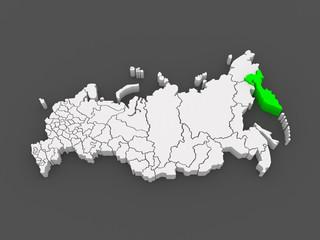 Map of the Russian Federation. Kamchatka Krai.