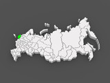 Map of the Russian Federation. Pskov region. poster