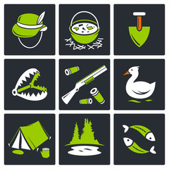 Color hunting and fishing icon set