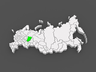 Map of the Russian Federation. Perm Krai.