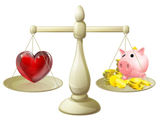 Love or money balance concept