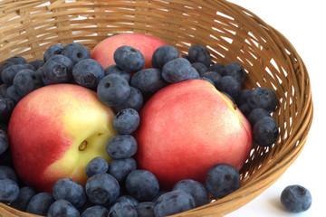 fresh fruit in a wicker basket